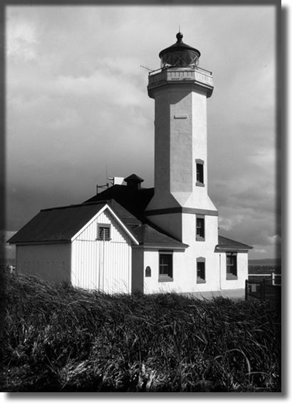 Black and white photograph of a lighthouse, Washington State
