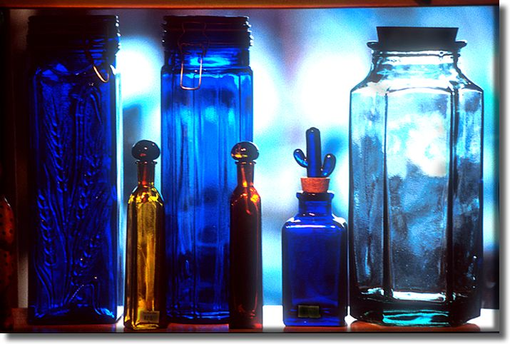 Color picture of  bottles on a shelf