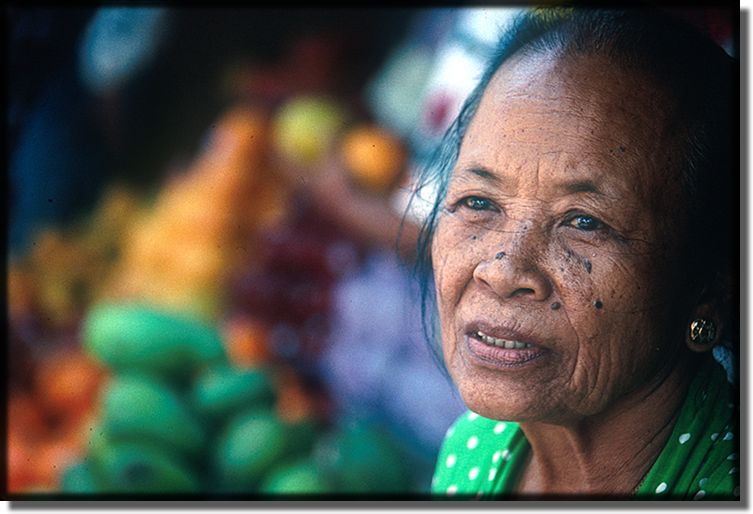 Picture of old lady in bali indonesia